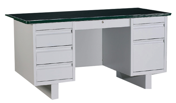 Double Pedestal Desk with Linoleum Top Image