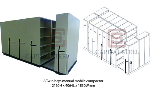 8 Twin Bays Manual Mobile Compactor Image